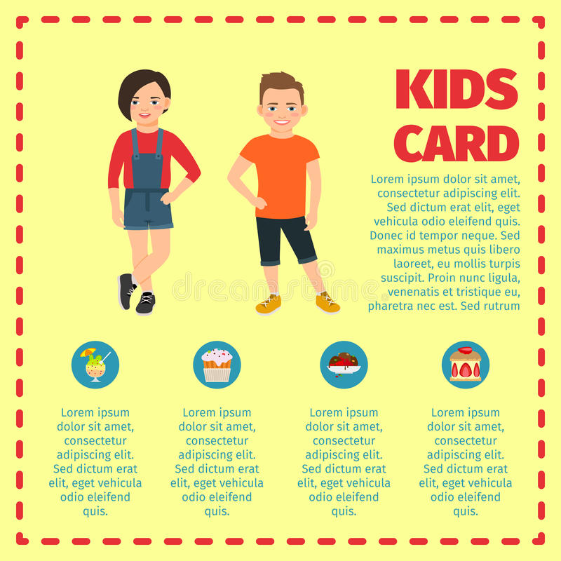 Kids card template for infographic. With dashed frame, girl and boy in cloth in warm colors. Vector illustration royalty free illustration