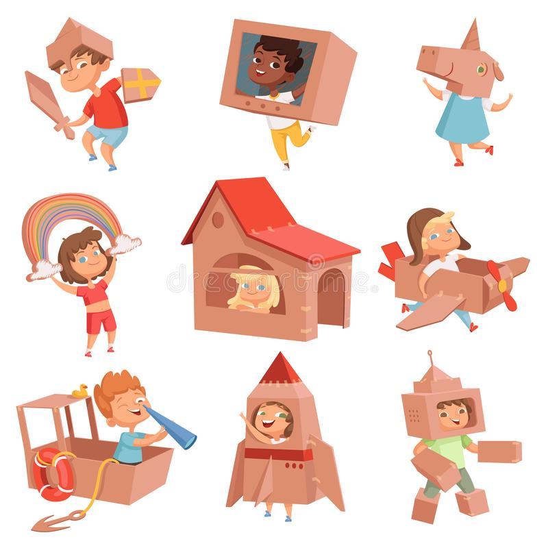 Kids cardboard costumes. Children playing in active games with paper box making house car and airplane vector characters vector illustration