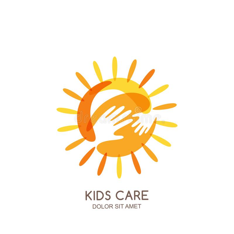 Kids care, family or charity logo emblem design template. Hand drawn sun with baby and adult hands silhouettes. vector illustration