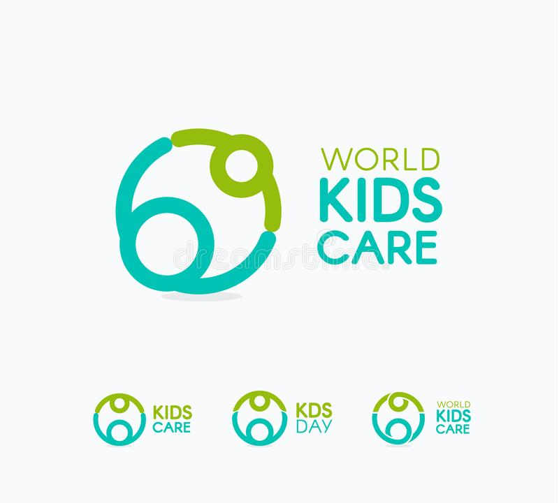 Kids care logo, circular concept protection child icon, mother and baby abstract logotype, world children protection day vector illustration
