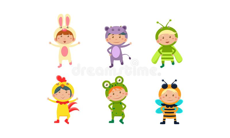 Kids in carnival costumes set, cute little boys and girls wearing insects and animals clothes vector Illustration on a stock illustration