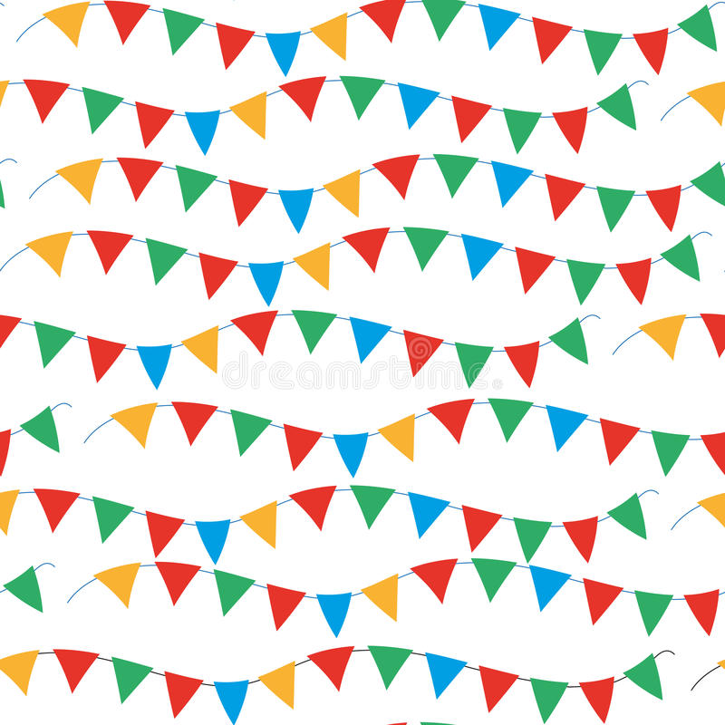 Kids, carnival seamless pattern with bunting, garlands. Bright festive background, texture with ribbons. Vector royalty free illustration