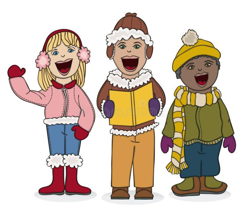Kids Caroling stock illustration