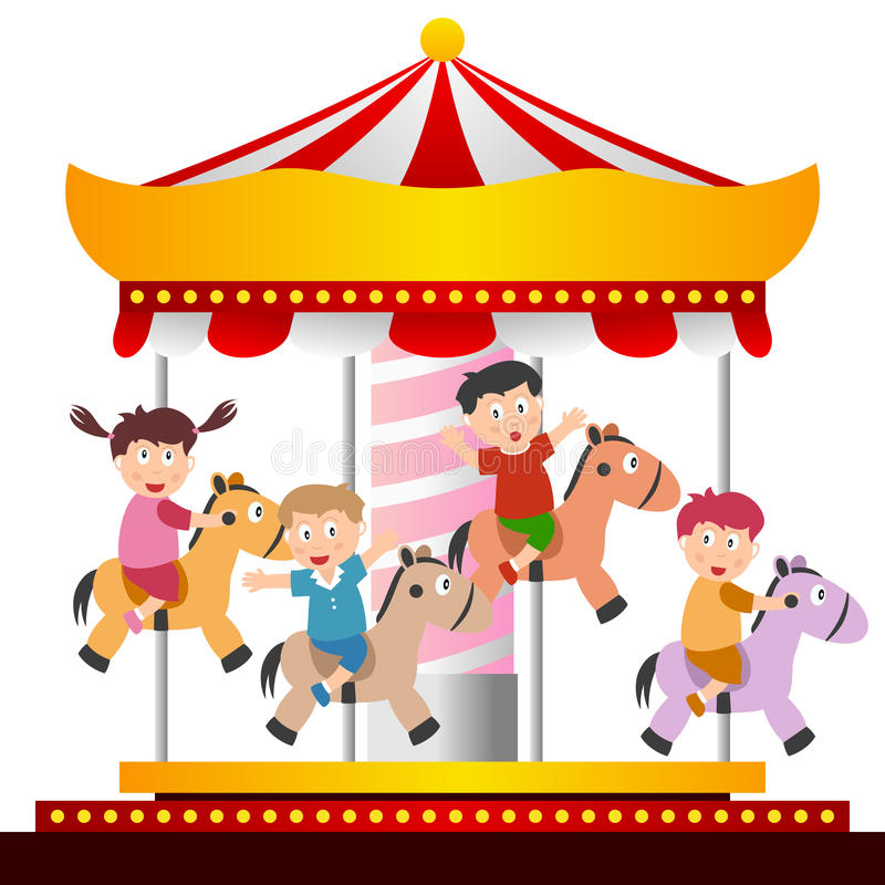 Kids on the Carousel. A group of kids having a ride on the carousel or merry go round. Eps file available