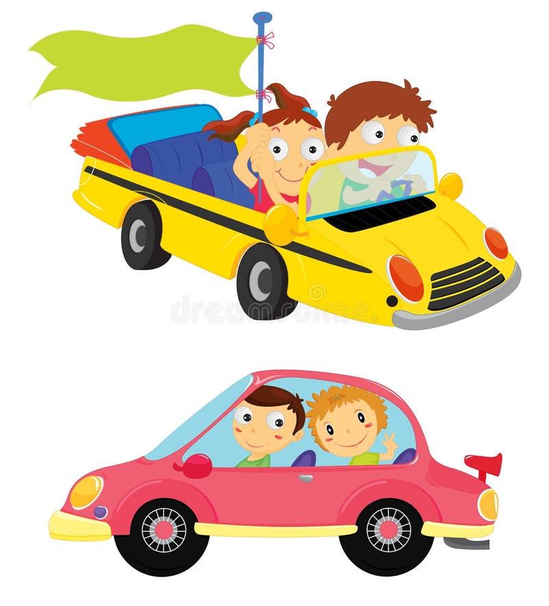 Kids in cars. Illustration of cartoon kids in cars stock illustration