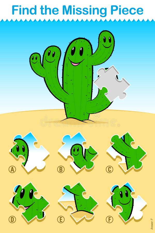 Kids cartoon cactus Find the Missing Piece Puzzle. Kids easy cartoon cactus Find the Missing Piece Puzzle with a cute happy green desert cactus with smiling royalty free illustration