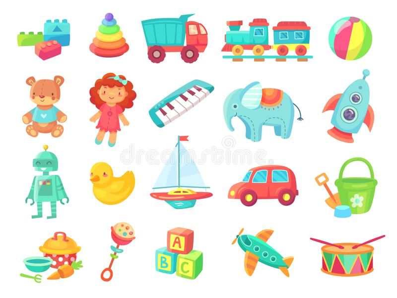 Kids cartoon toys. Baby doll, train on railway, ball, cars, boat, boys and girls fun isolated plastic toy vector. Kids cartoon toys. Baby doll, train on railway stock illustration