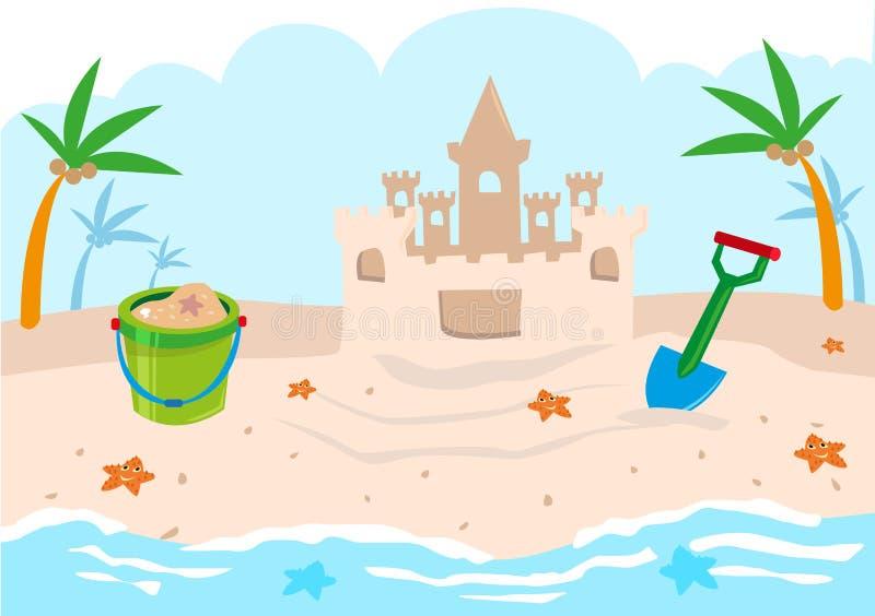Kids Castle Building Tools on a Beach. Editable Clip Art. stock illustration