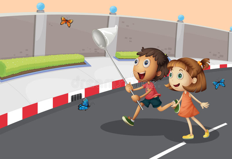 Kids catching butterflies at the street stock illustration