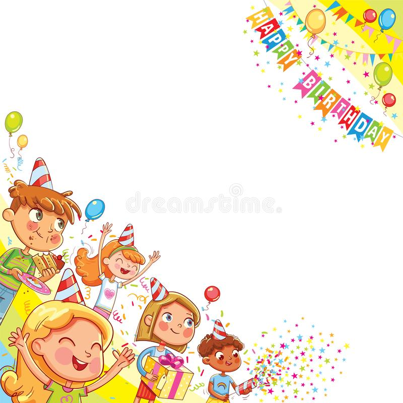 Kids celebrating Birthday with gift and cake in background of confetti falling and balloons. Template for advertising brochure. Ready for your message. Funny stock illustration