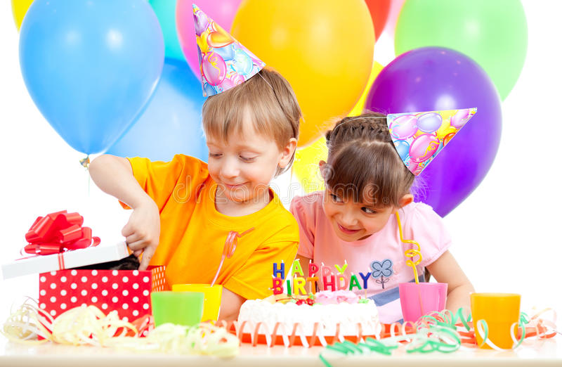 Download Kids Celebrating Birthday Party And Kitten As Gift Stock Image - Image: 24666061
