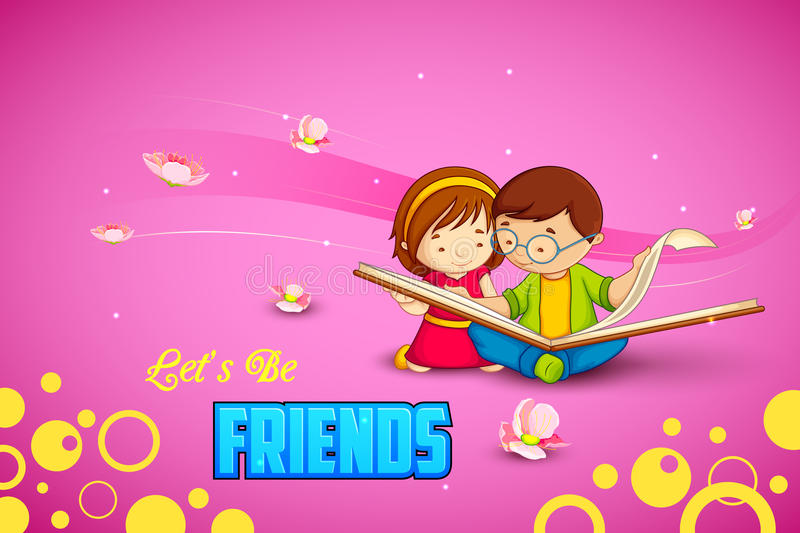Kids celebrating Friendship Day royalty free illustration