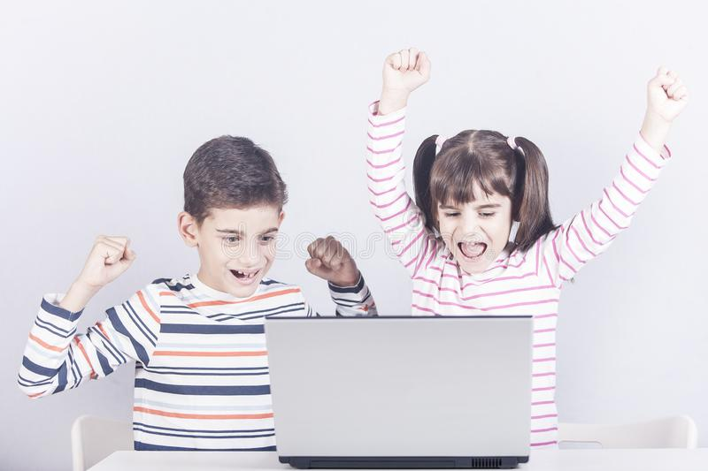 Kids and technology concept royalty free stock photos