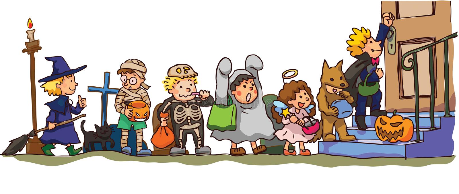 Kids Celerbrating Halloween. Its Trick Or Treat! Royalty Free Stock Images