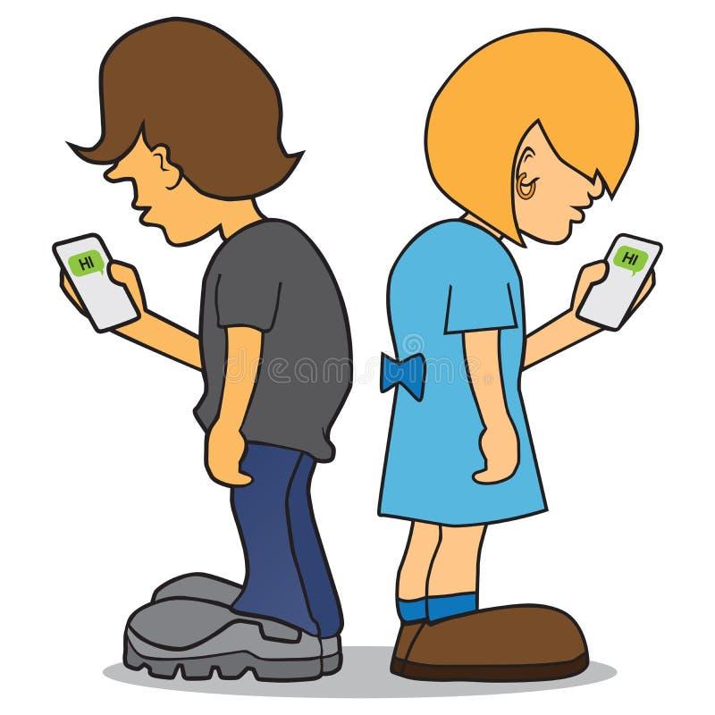 Kids On Cell Phones stock illustration