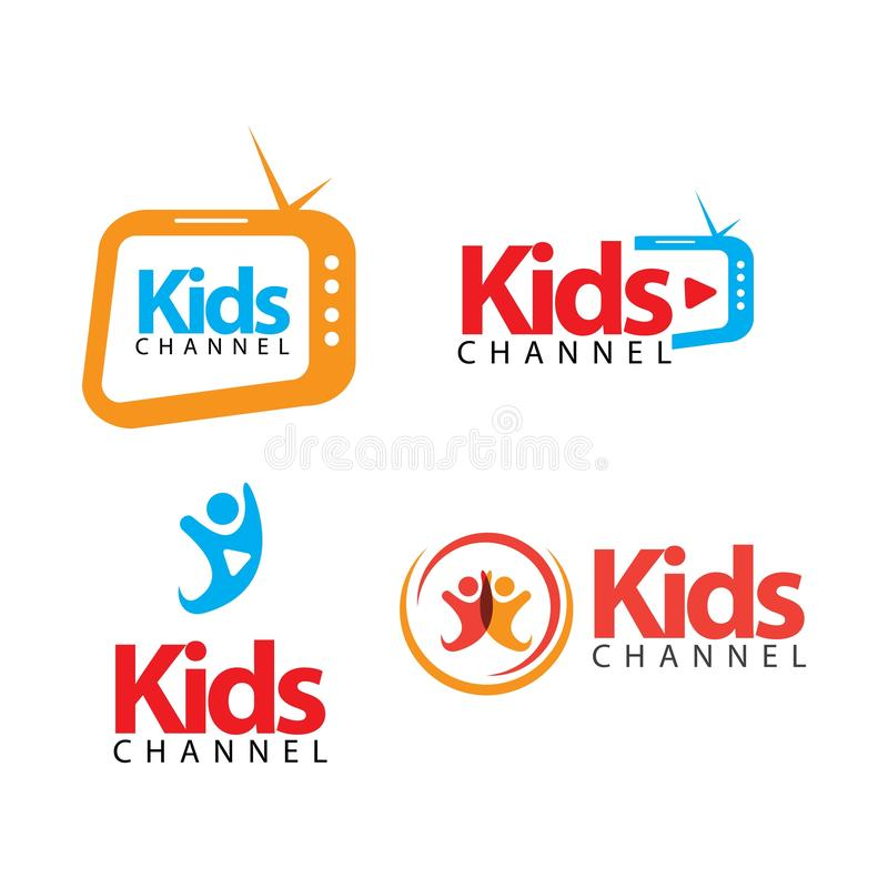 Kids Channel Logo Vector Template Design Illustration. News icon happy symbol graphic cute colorful fun element happiness drawing cheerful child joy care play royalty free illustration