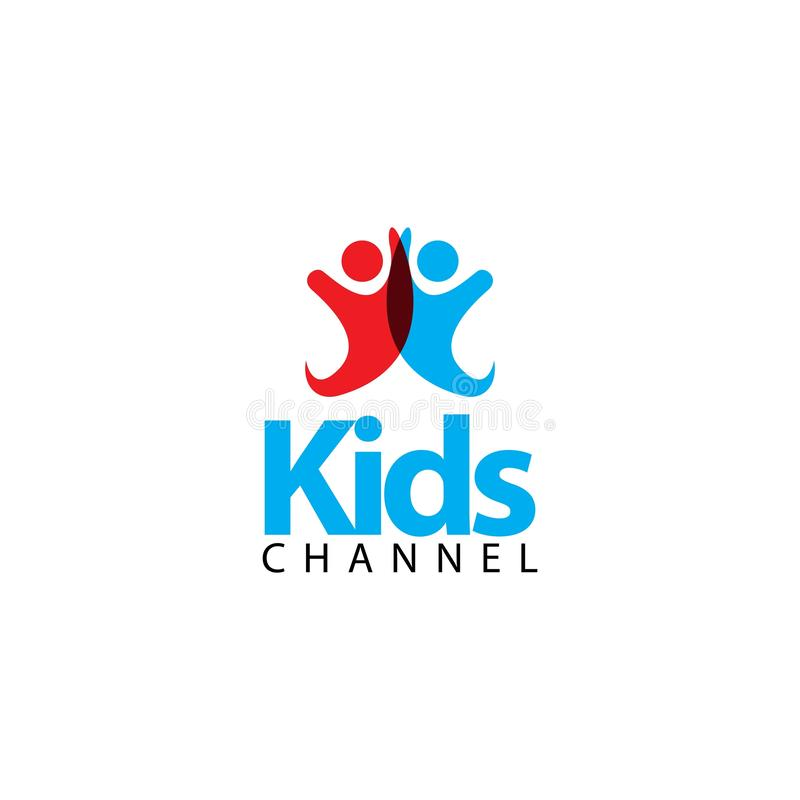 Kids Channel Logo Vector Template Design Illustration. News icon happy symbol graphic cute colorful fun element happiness drawing cheerful child joy care play vector illustration