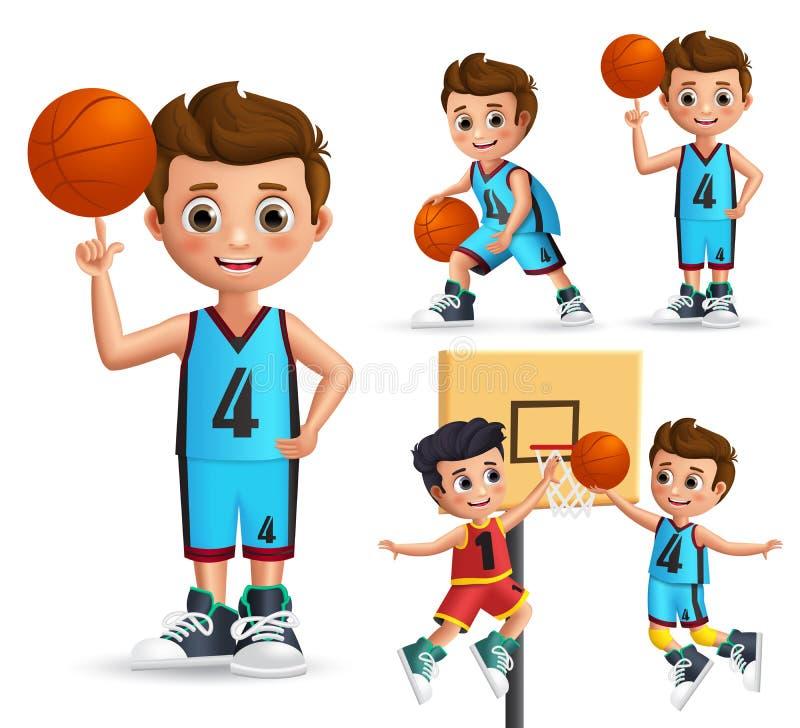 Kids character playing basketball vector set. Young school boy wearing basketball uniform royalty free illustration