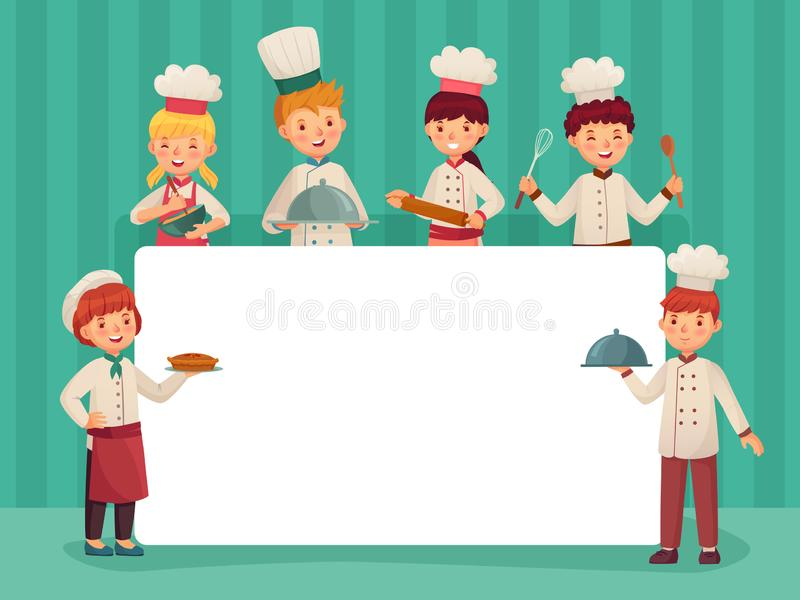 Kids chefs frame. Children cooks, little chef cooking food and restaurant kitchen students cartoon vector illustration stock illustration