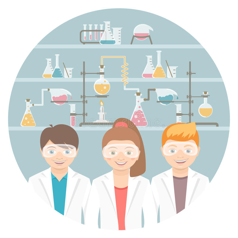 Modern Classroom Vector ~ Kids in chemistry class flat education concept stock