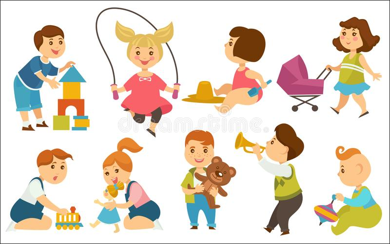 Kids children playing toys and games on playground vector cartoon. Kids or children playing toys and fun games on playground in kindergarten. Boy with toy play vector illustration