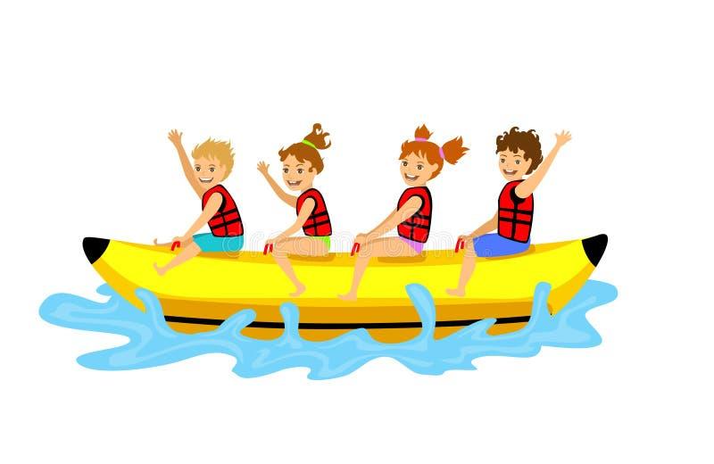 Kids children riding banana boat. stock illustration