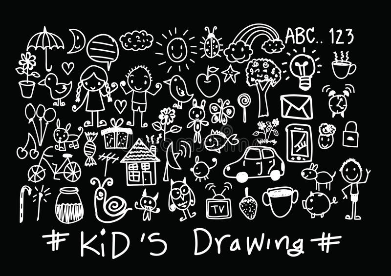 Kids and children's hand drawings royalty free illustration