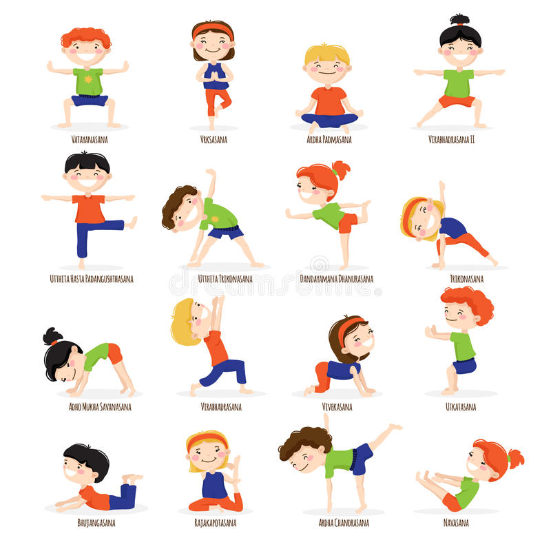 Kids Children Yoga Poses Cartoon Set. royalty free illustration
