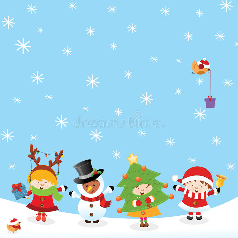 Kids With Christmas Costume royalty free illustration