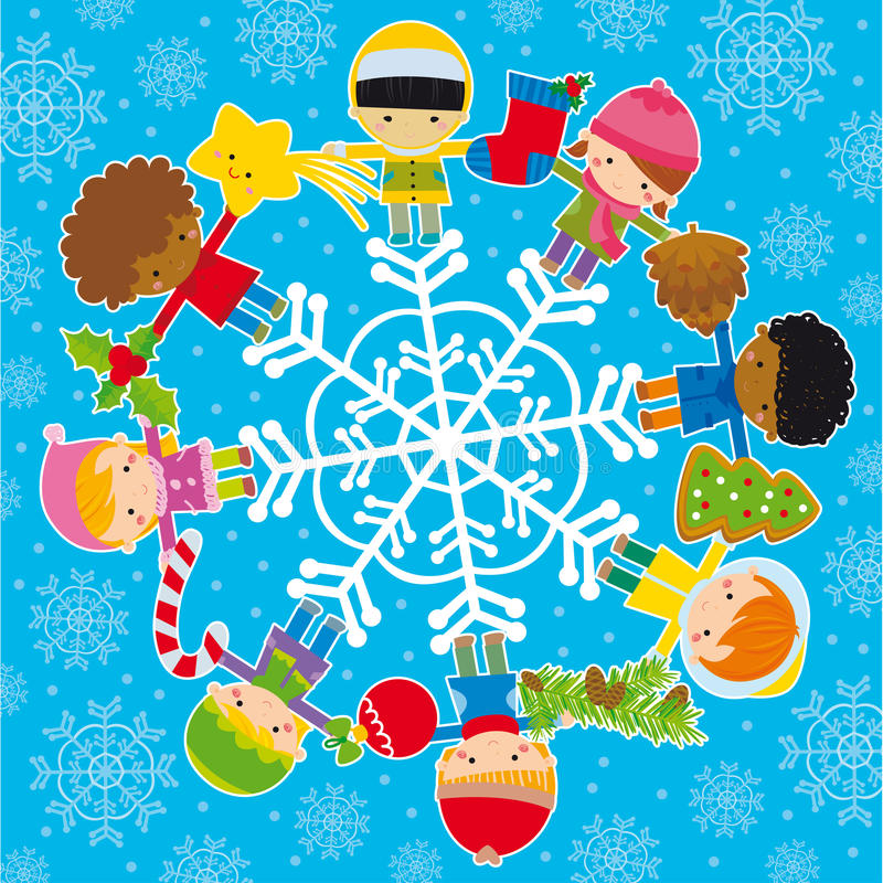 Kids with christmas elements. Circle of happy kids with winter and christmas elements