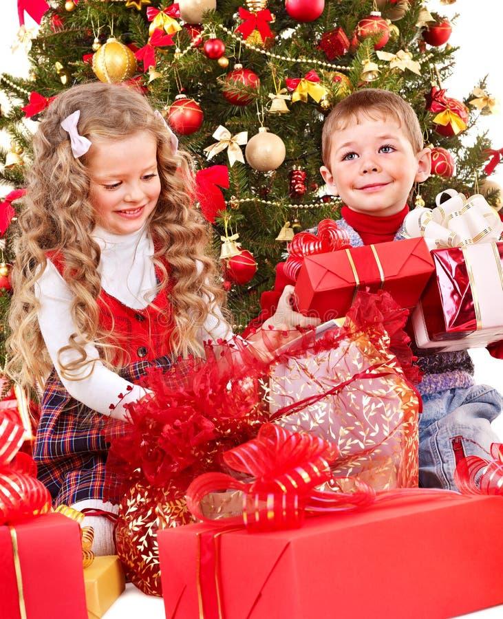 Download Kids With Christmas Gift Box. Stock Image - Image: 27569151