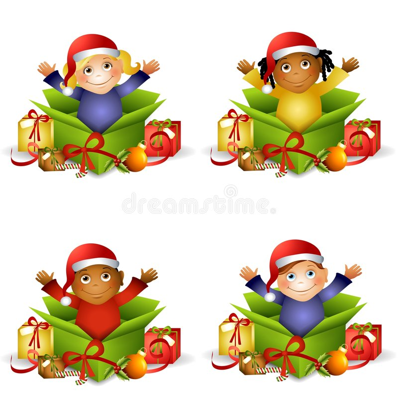 Kids Christmas Gifts. An illustration featuring your choice of kid sitting in an unwrapped Christmas gift box surrounded by other gifts vector illustration