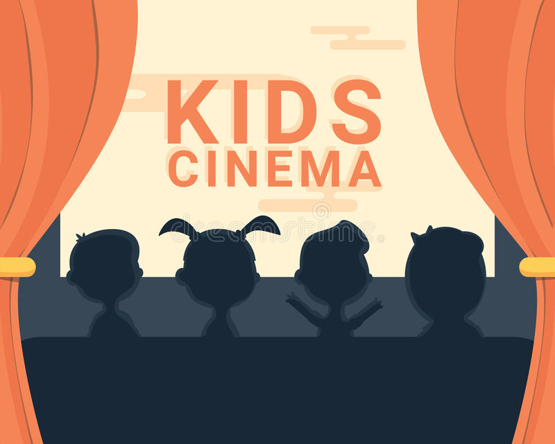 Kids cinema black and white silhouette and text vector illustration
