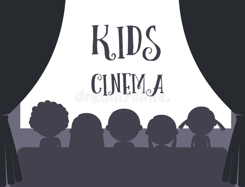 Kids cinema illustration. Kids cinema black and white silhouette and text vector illustration stock illustration