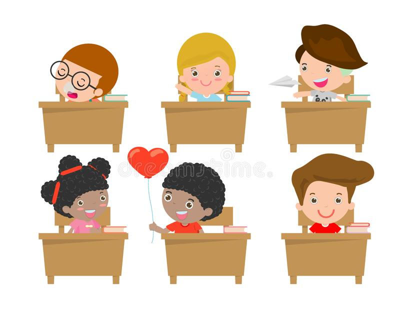 Kids in classroom, child in classroom, kids studying in classroom, little school children, sitting at the desks,Back to school stock illustration