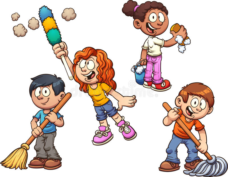 Kids cleaning vector illustration