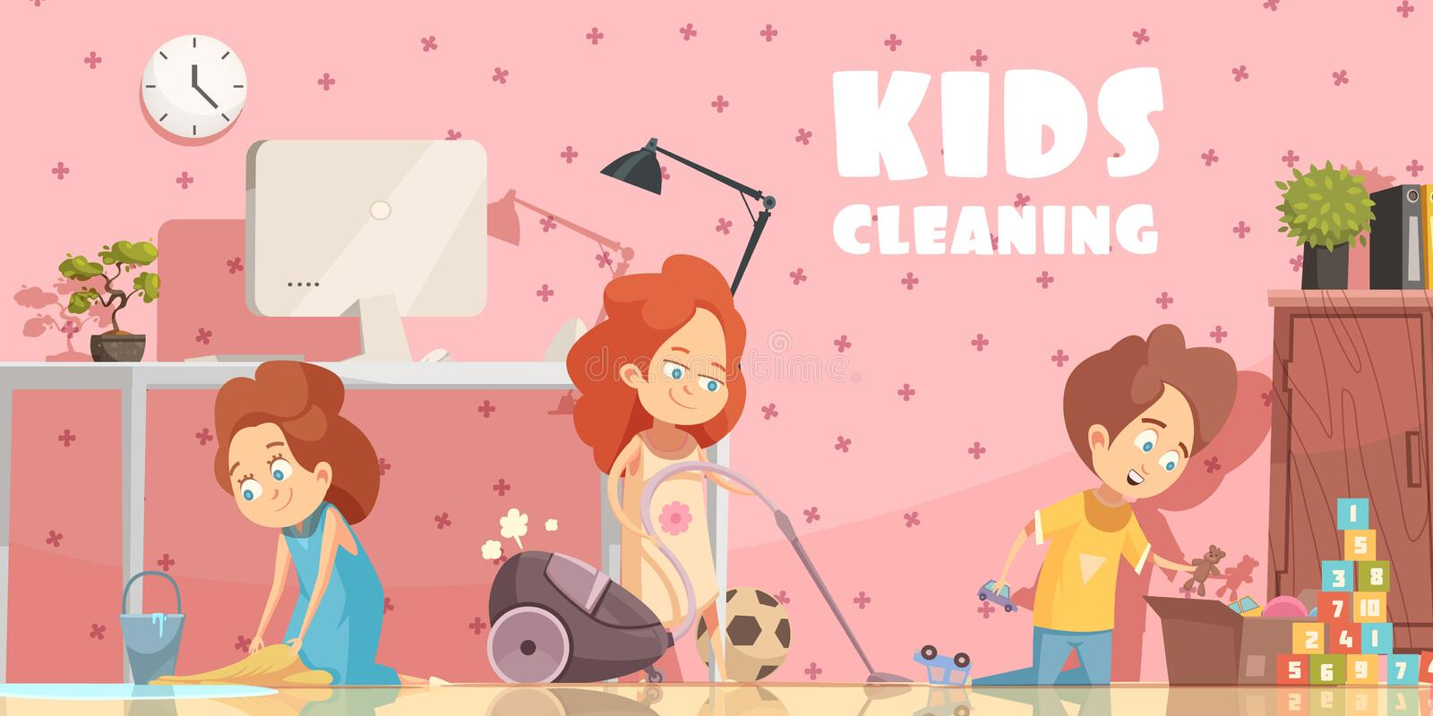 Kids Cleaning Room Cartoon Poster Stock Vector - Illustration of ...