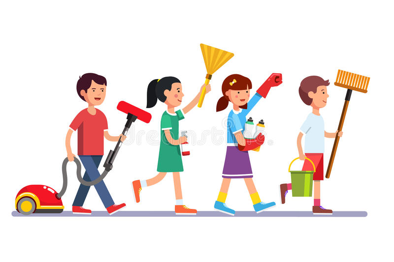 People Cleaning Services : Kids cleaning team doing household chores stock vector