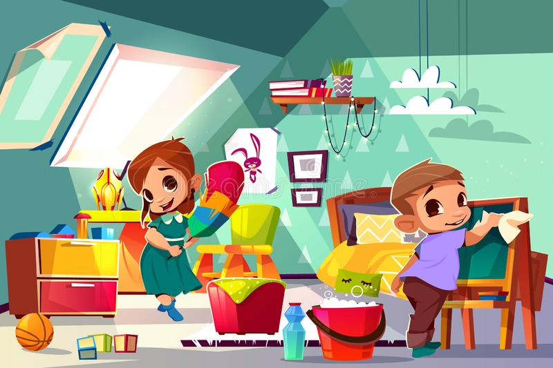 Kids cleaning in their room cartoon vector. Brother and sister cleaning in kids bedroom cartoon vector illustration with boy and girl characters washing royalty free illustration