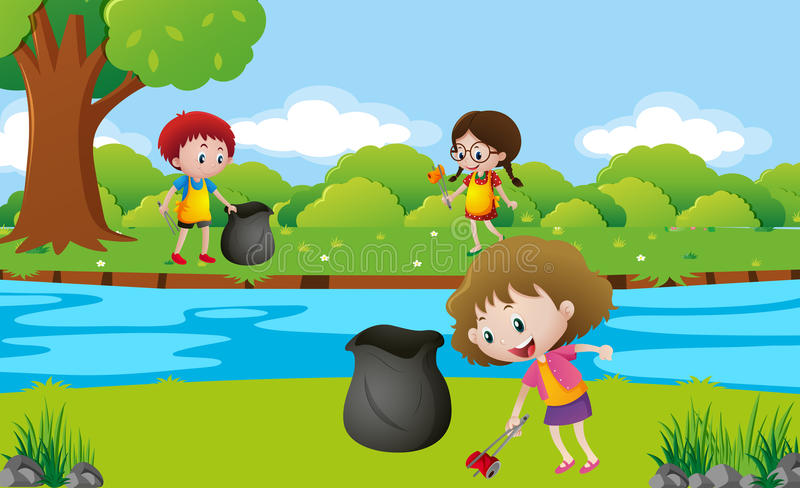 Kids cleaning up the park stock illustration