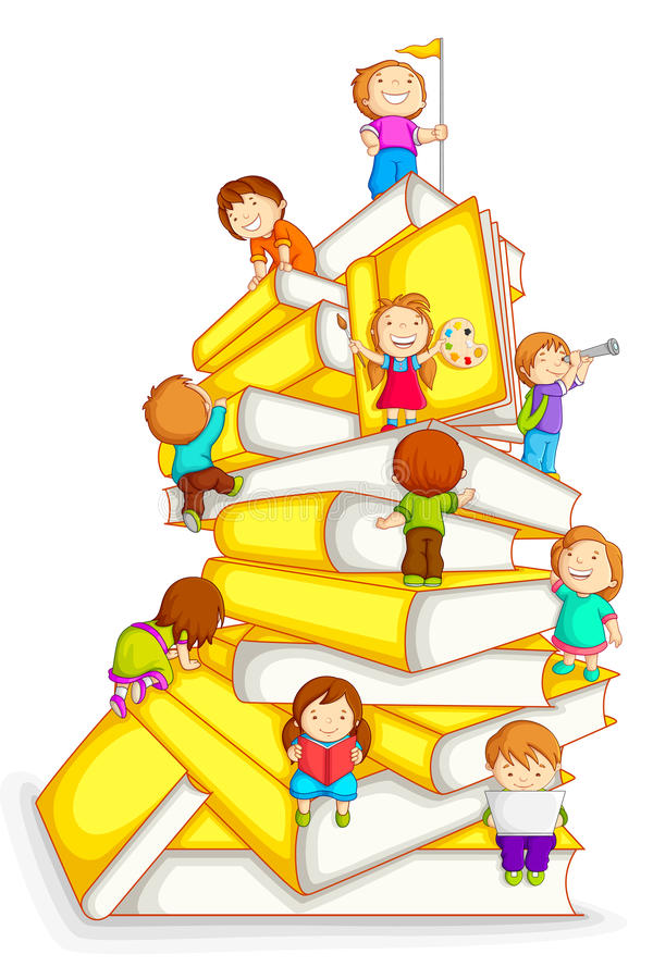 Kids Climbing in Stack of Book vector illustration