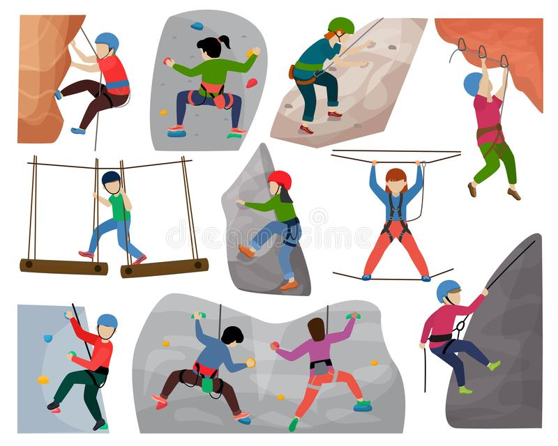 Kids climbing vector climber children character climbs rock mountain wall or mountainous cliff illustration. Mountaineering set of child in extreme sport vector illustration