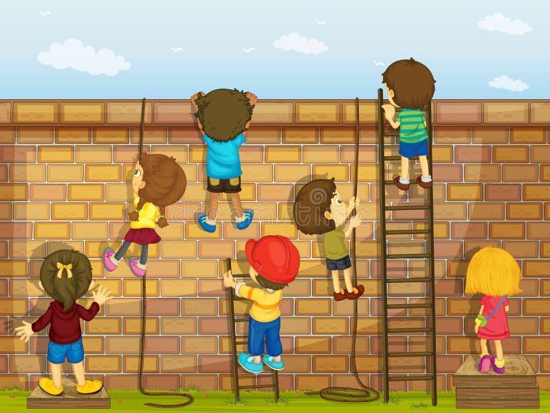 Kids climbing on a wall stock illustration