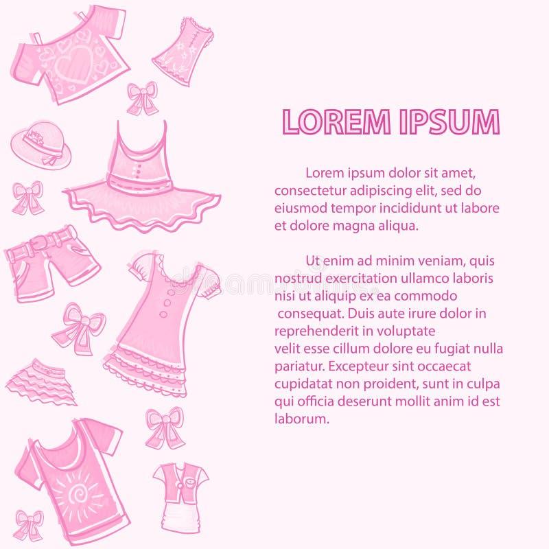 Kids clothes hand drawn sketch summer background stock illustration