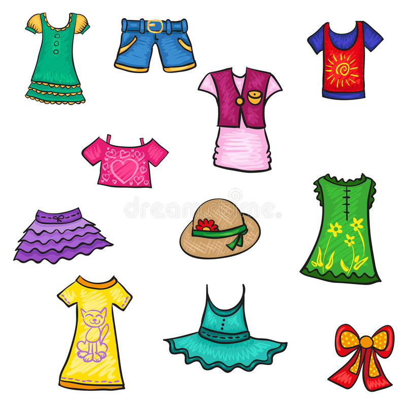 kids clothes hand drawn sketch summer pattern stock vector rh dreamstime com  summer clothes black and white clipart