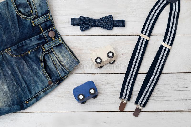 Kids clothes with toy car. kids fashion. royalty free stock photo