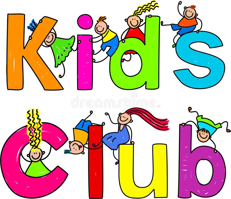 Kids club. Cute children climbing over the words KIDS CLUB