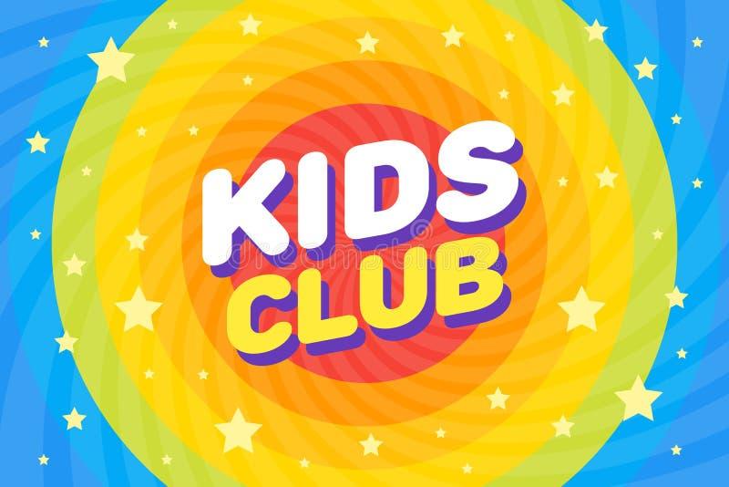 Kids club brief bord poster vectorillustratie in regenboogsirl kosmos space background royalty-vrije illustratie