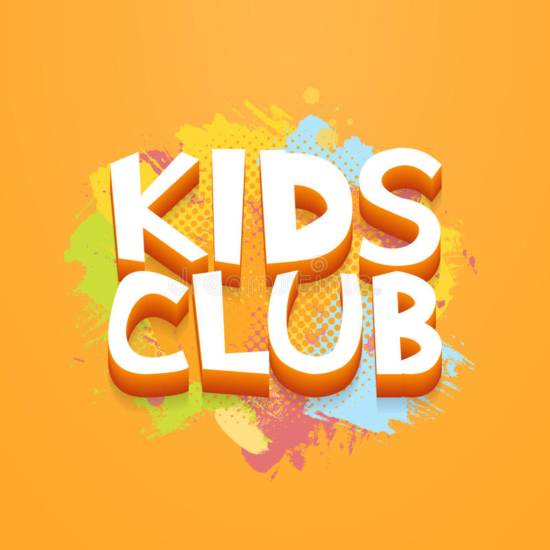 Kids Club fun letters in abstract colorful paint brush grunge background. Vector logo illustration template.  vector illustration