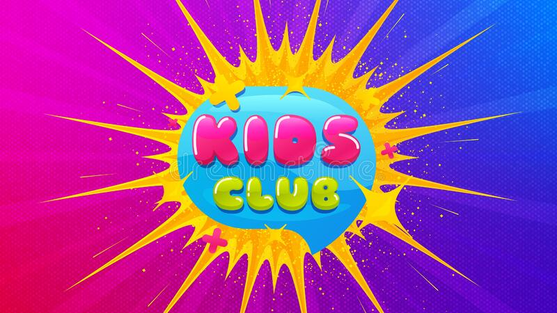 Kids Club Icon Fun Playing Zone Banner Vector Stock Vector